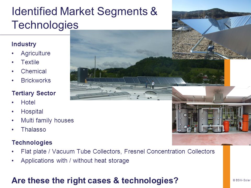 Identified Market Segments & Technologies