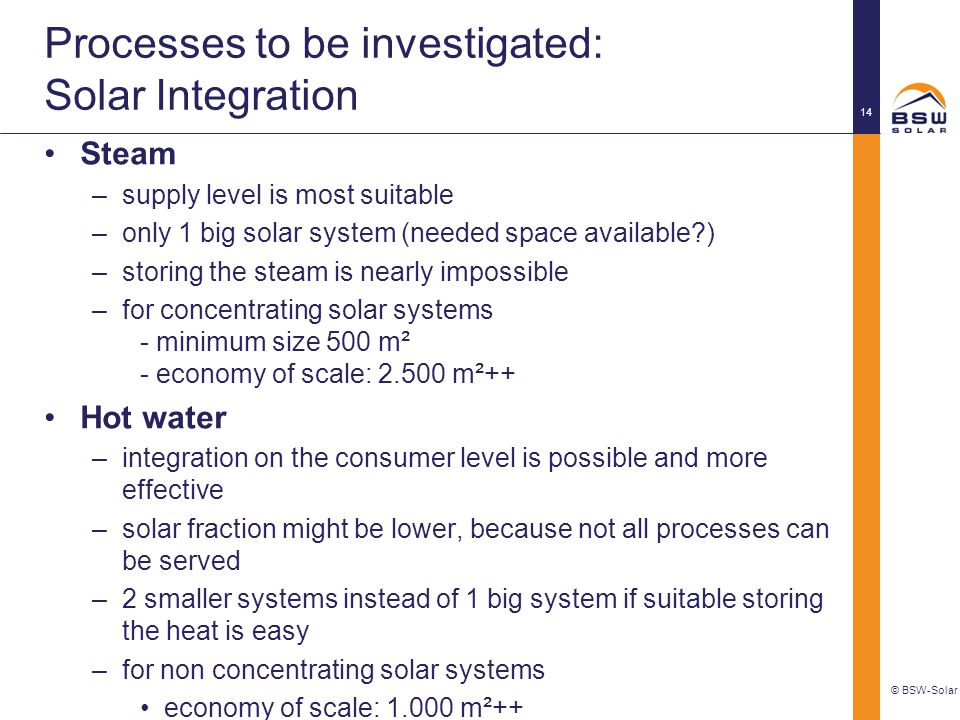 Processes to be investigated: Solar Integration
