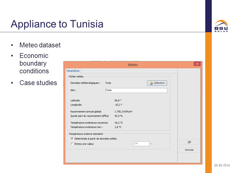 Appliance to Tunisia Meteo dataset Economic boundary conditions