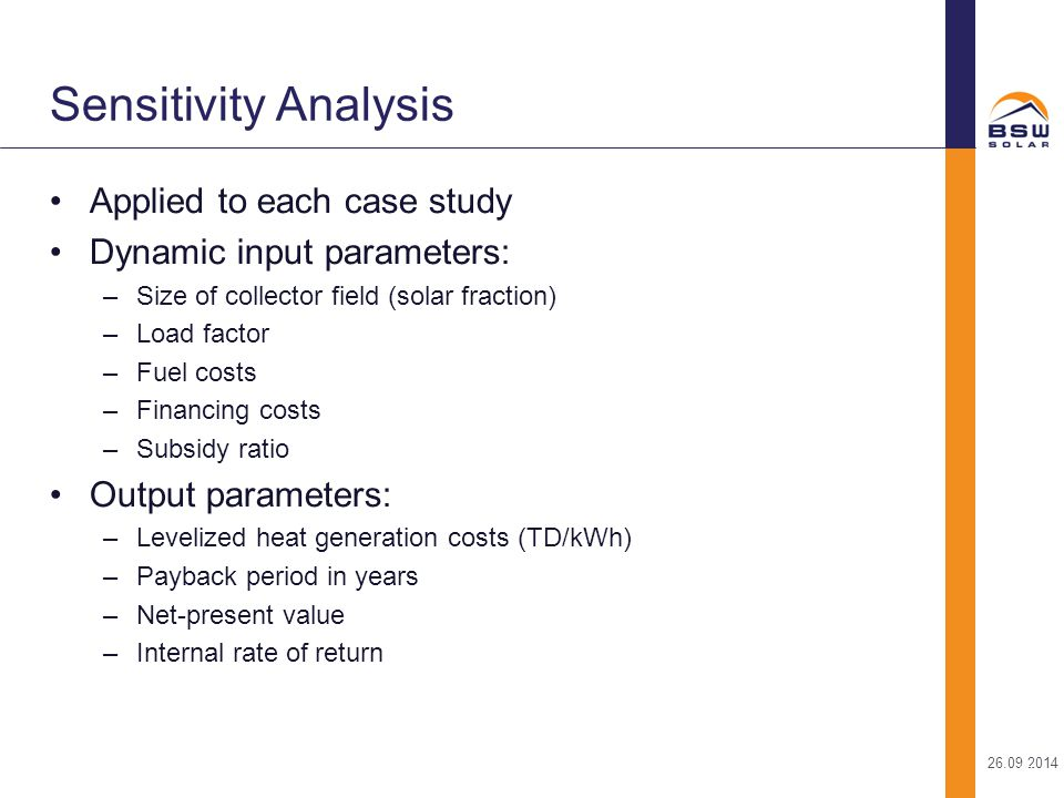 Sensitivity Analysis Applied to each case study