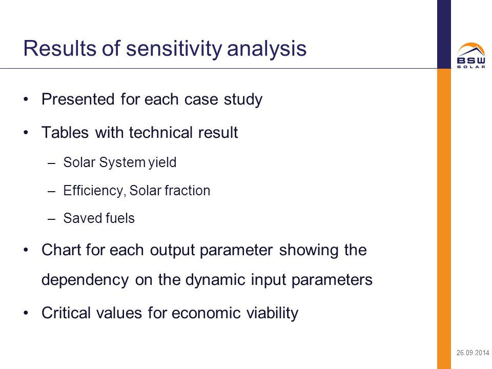 Results of sensitivity analysis