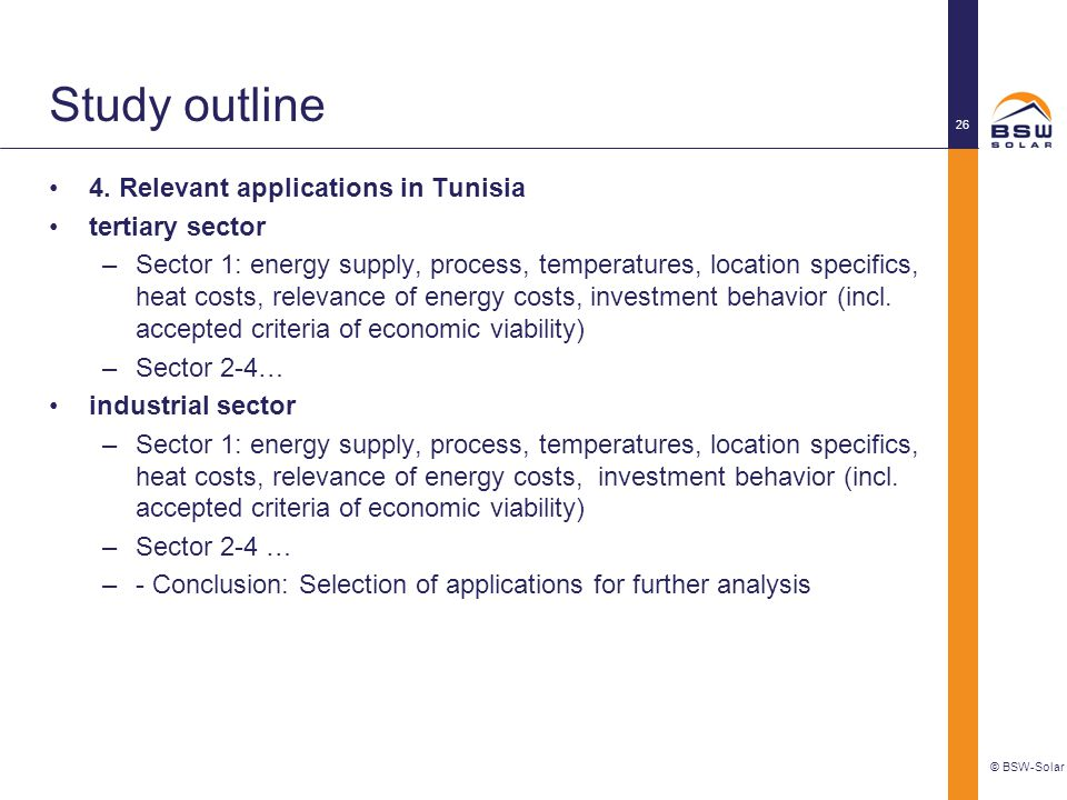 Study outline 4. Relevant applications in Tunisia tertiary sector