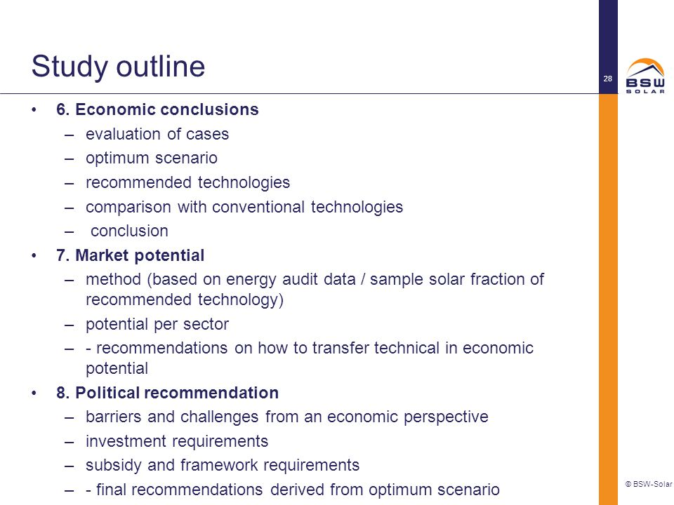 Study outline 6. Economic conclusions evaluation of cases