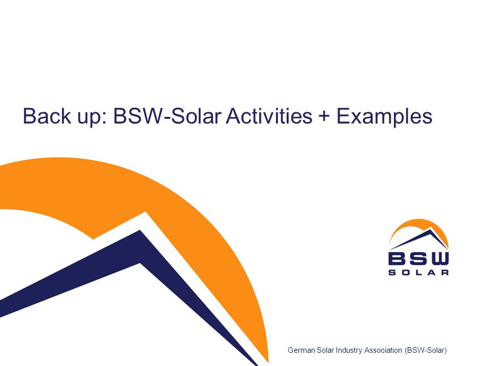 Back up: BSW-Solar Activities + Examples