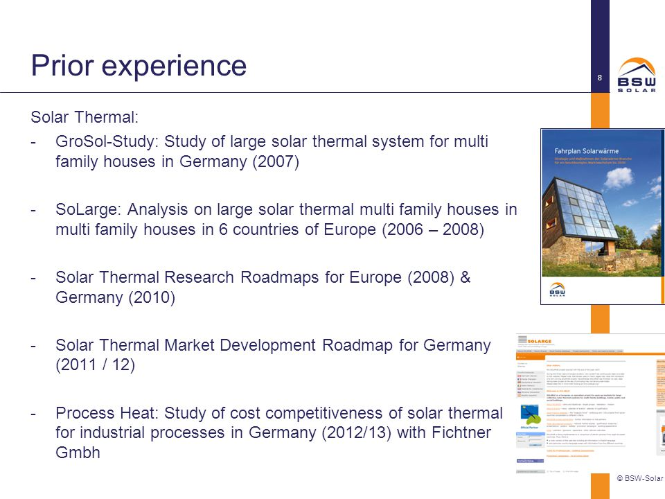 Prior experience Solar Thermal: