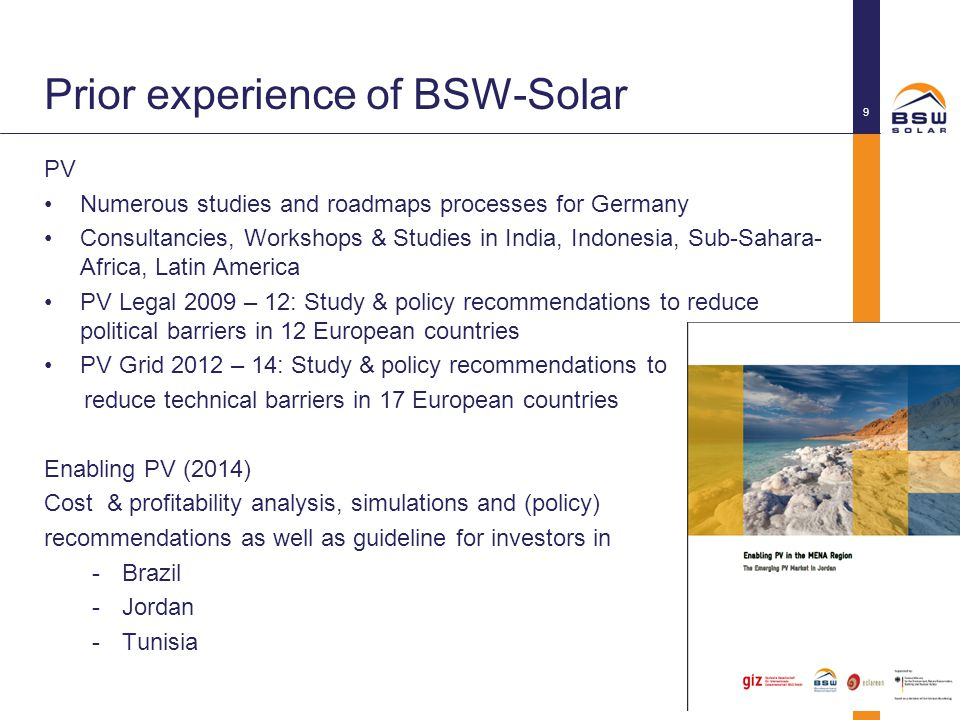 Prior experience of BSW-Solar