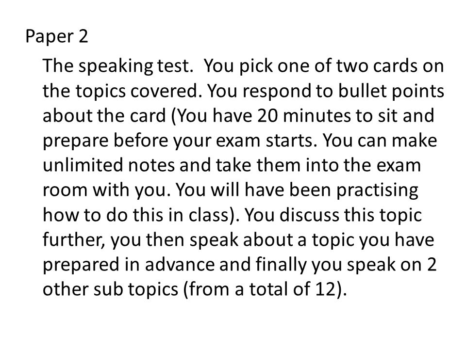 Paper 2 The speaking test