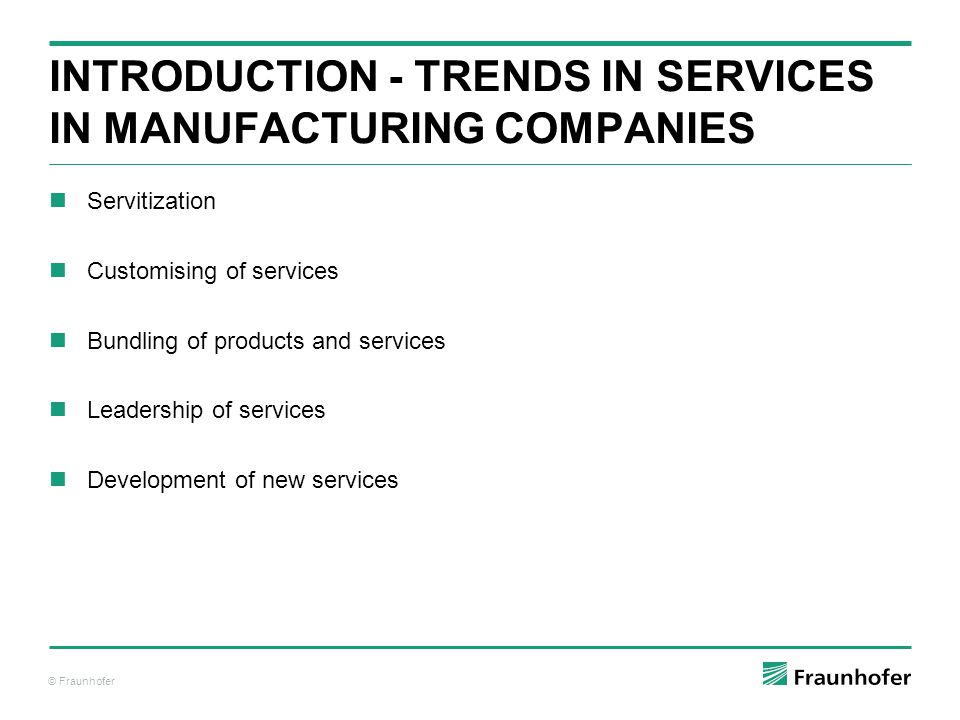 Introduction - Trends in Services in Manufacturing Companies