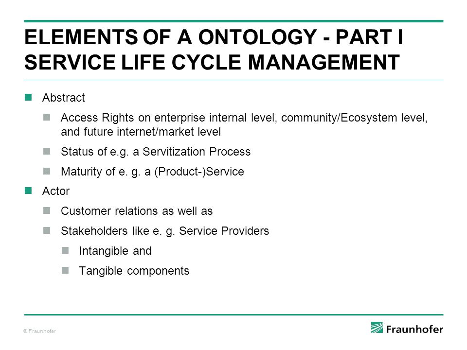 ELemENTS of a Ontology - PART I Service Life Cycle ManAGEMENT