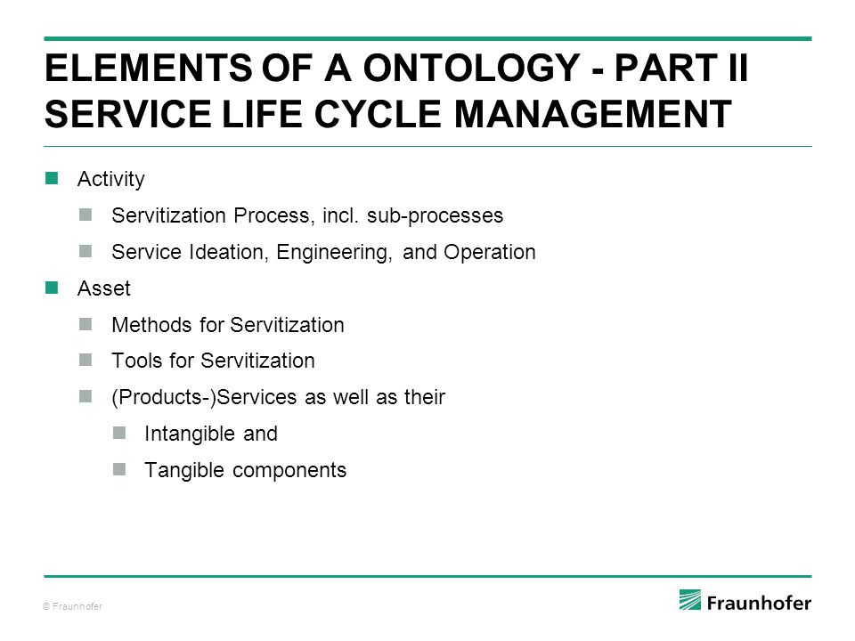 ELemENTS of a Ontology - PART II Service Life Cycle ManAGEMENT