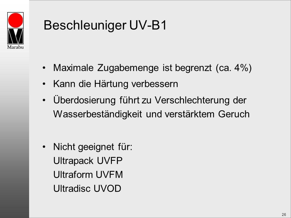 Beschleuniger UV-B1 Maximale Zugabemenge ist begrenzt (ca. 4%)