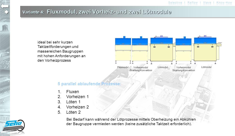 Variante 4: Fluxmodul, zwei Vorheiz- und zwei Lötmodule