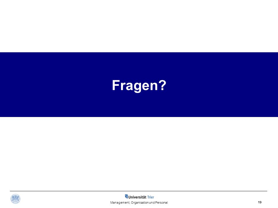 Management, Organisation und Personal