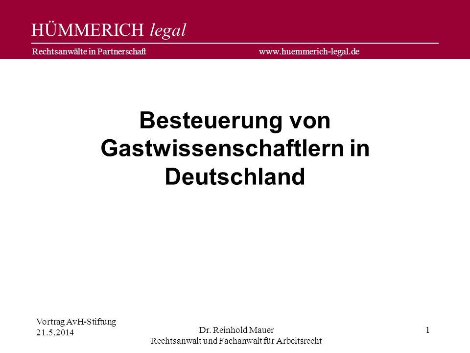 Besteuerung von Gastwissenschaftlern in Deutschland