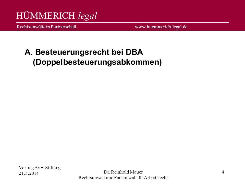 Besteuerungsrecht bei DBA (Doppelbesteuerungsabkommen)