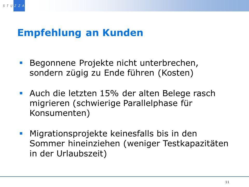 Empfehlung an Kunden Begonnene Projekte nicht unterbrechen, sondern zügig zu Ende führen (Kosten)