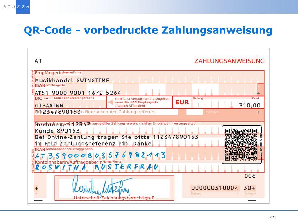 QR-Code - vorbedruckte Zahlungsanweisung