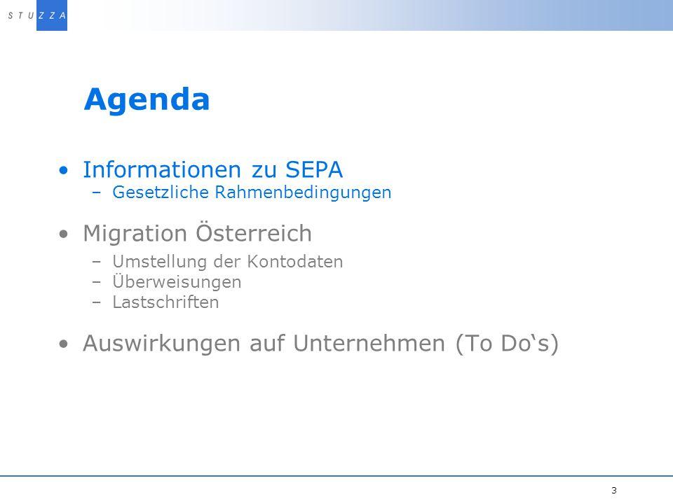 Agenda Informationen zu SEPA Migration Österreich