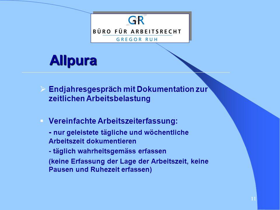 Allpura Endjahresgespräch mit Dokumentation zur zeitlichen Arbeitsbelastung. Vereinfachte Arbeitszeiterfassung: