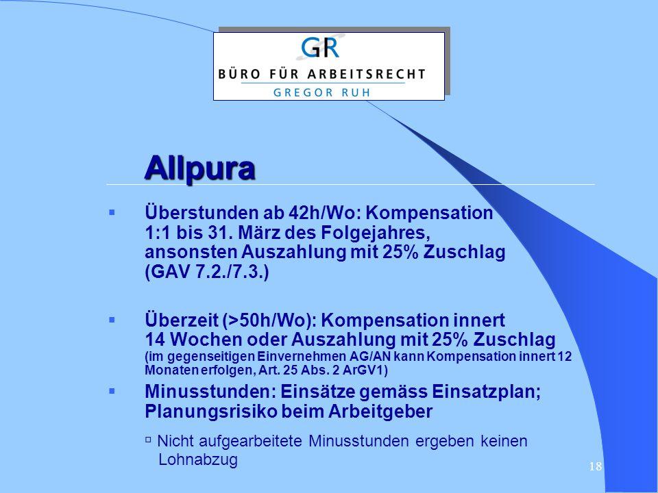 Allpura Überstunden ab 42h/Wo: Kompensation 1:1 bis 31. März des Folgejahres, ansonsten Auszahlung mit 25% Zuschlag (GAV 7.2./7.3.)