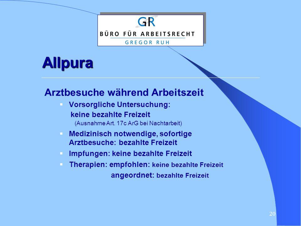 Allpura Arztbesuche während Arbeitszeit Vorsorgliche Untersuchung: