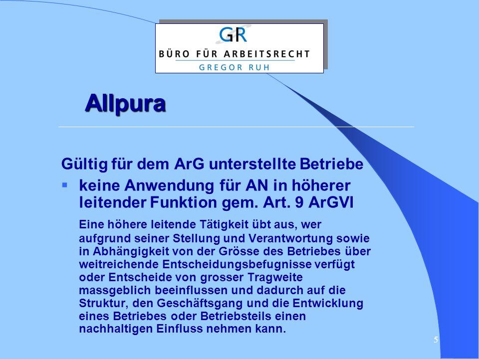 Allpura Gültig für dem ArG unterstellte Betriebe