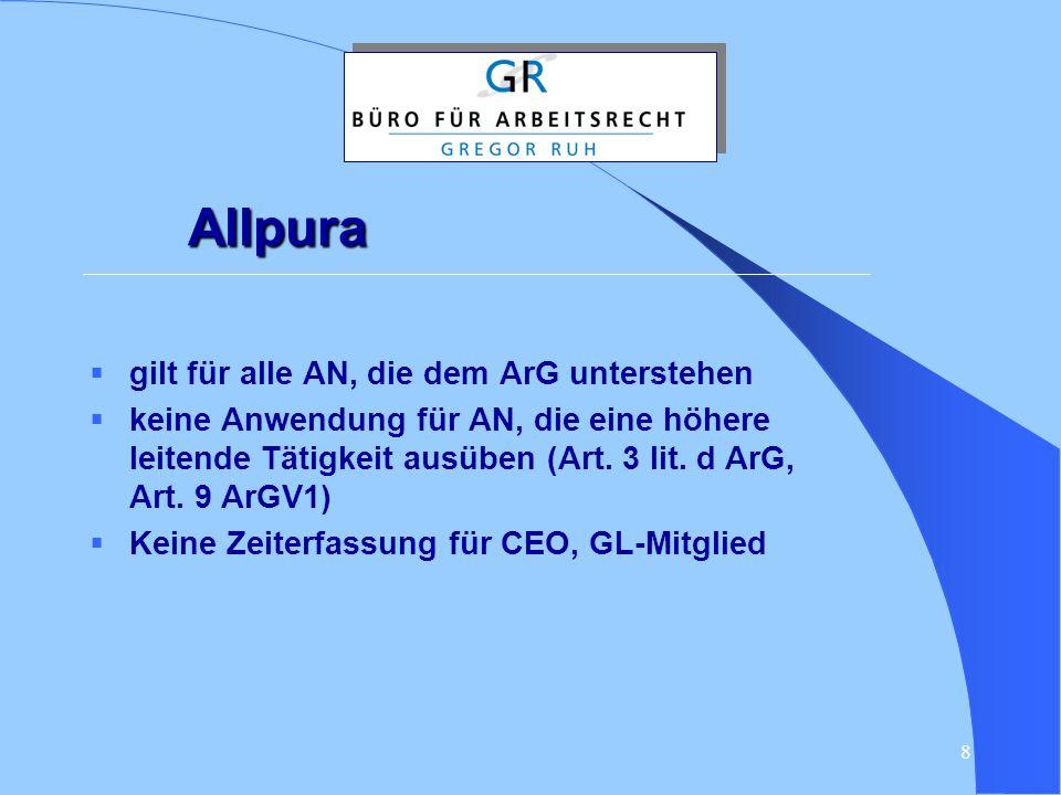 Allpura gilt für alle AN, die dem ArG unterstehen