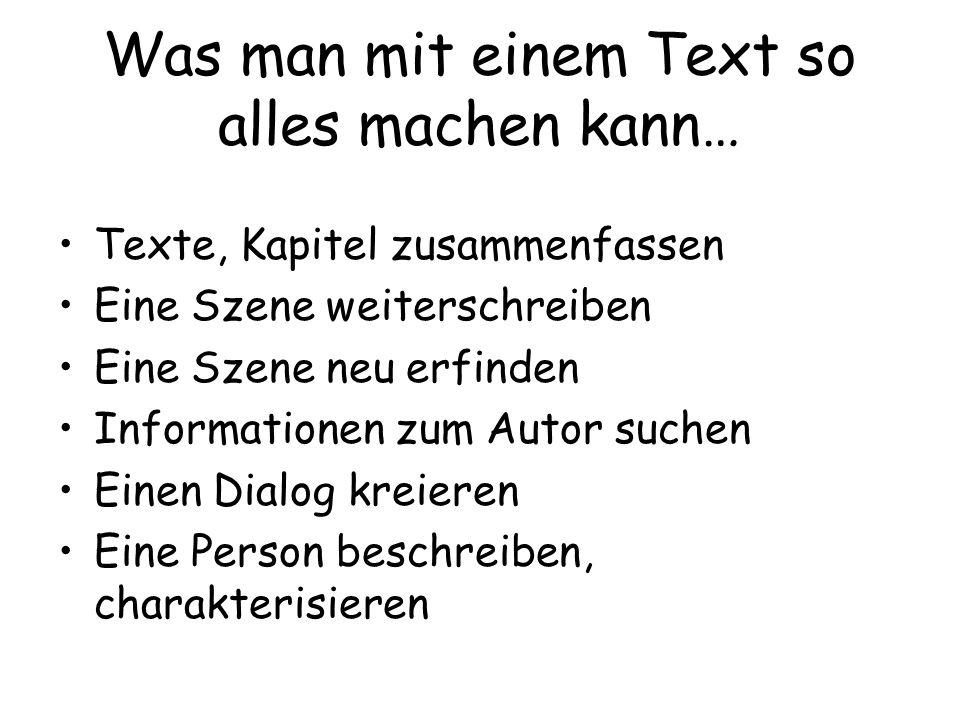 Was man mit einem Text so alles machen kann…