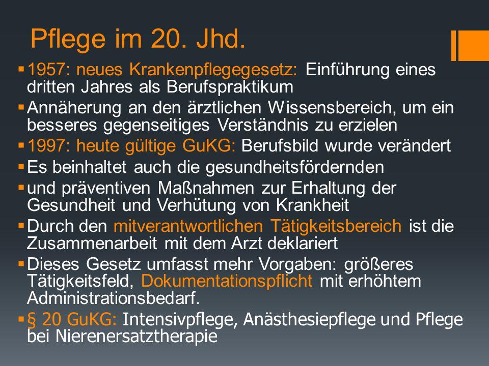 Pflege im 20. Jhd. 1957: neues Krankenpflegegesetz: Einführung eines dritten Jahres als Berufspraktikum.