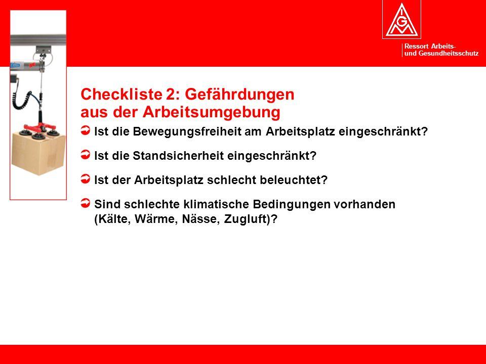 Checkliste 2: Gefährdungen aus der Arbeitsumgebung