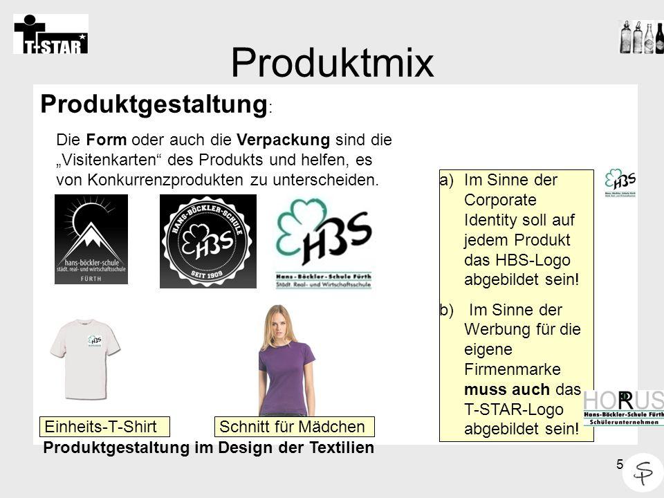 Produktmix Produktgestaltung: