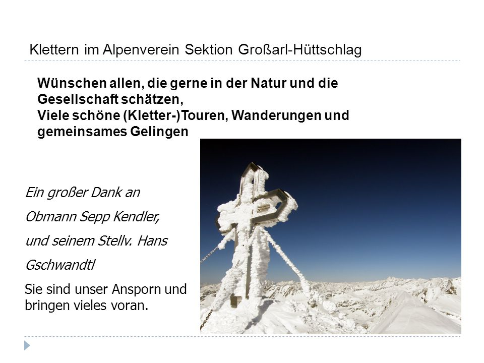 Klettern im Alpenverein Sektion Großarl-Hüttschlag