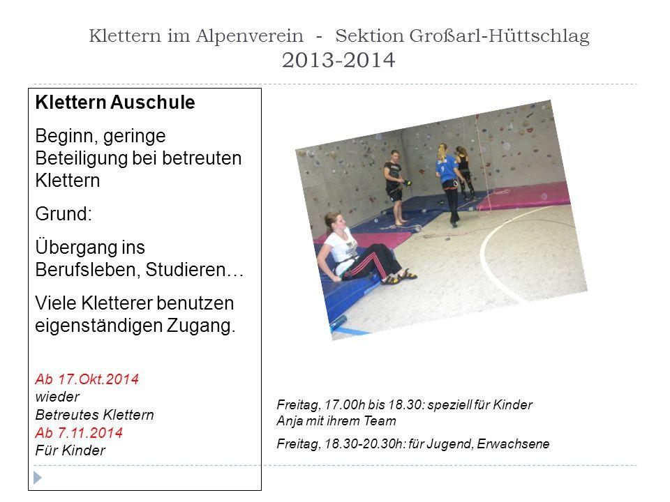 Klettern im Alpenverein - Sektion Großarl-Hüttschlag 2013-2014