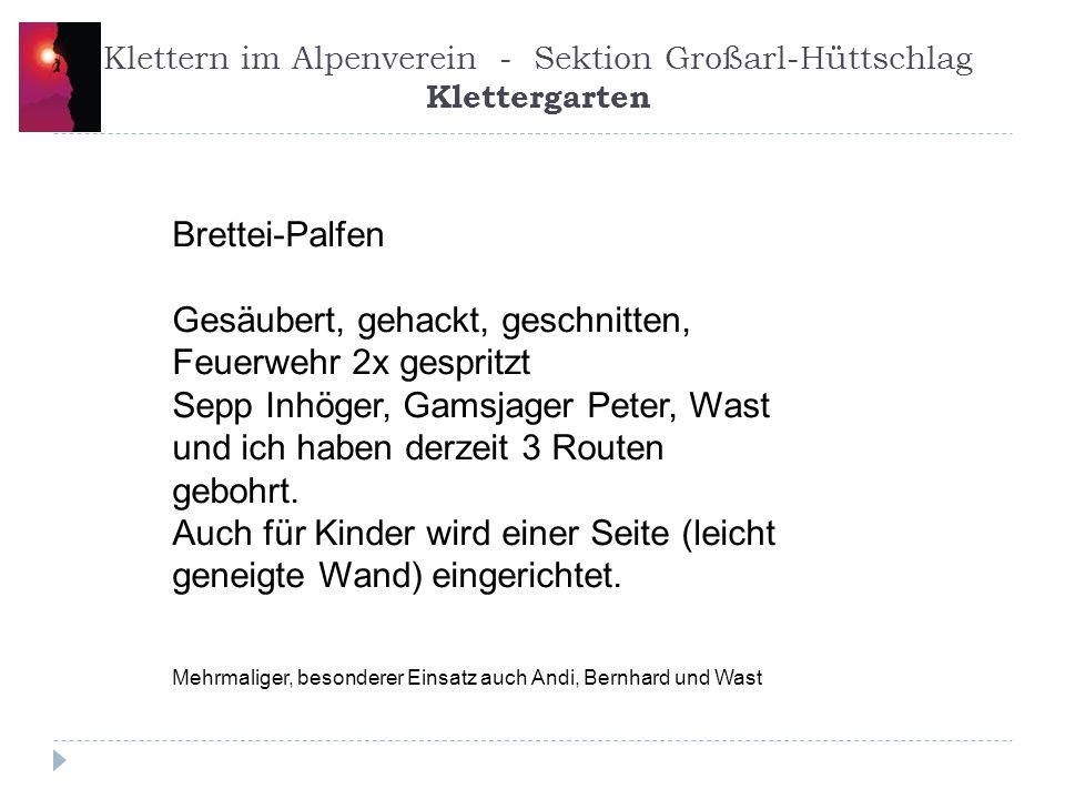 Klettern im Alpenverein - Sektion Großarl-Hüttschlag Klettergarten
