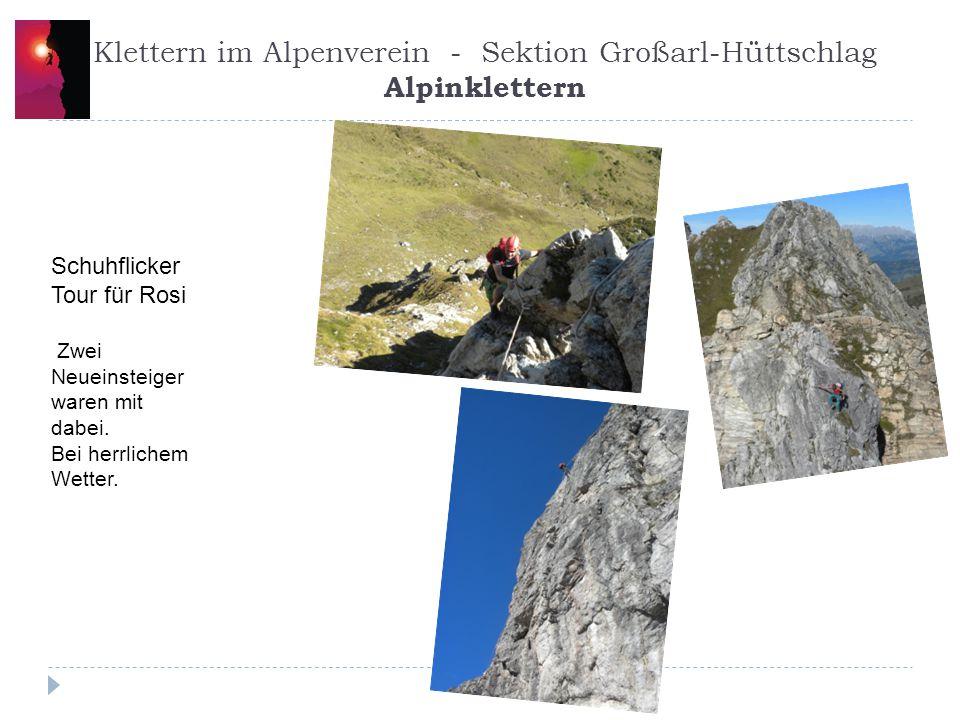 Klettern im Alpenverein - Sektion Großarl-Hüttschlag Alpinklettern