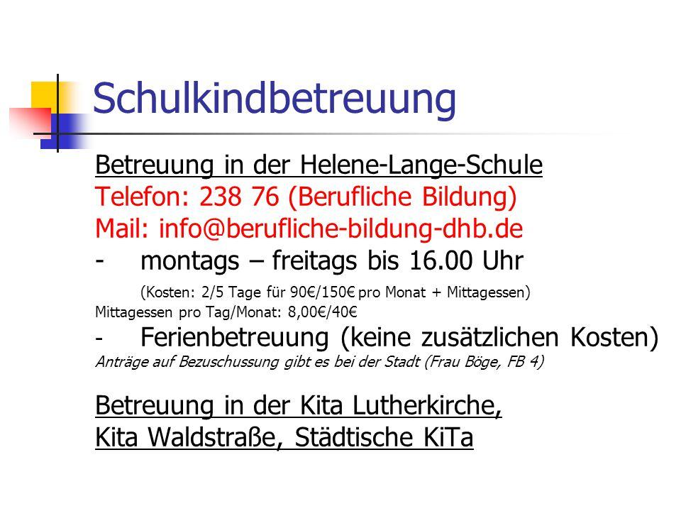 Schulkindbetreuung Betreuung in der Helene-Lange-Schule