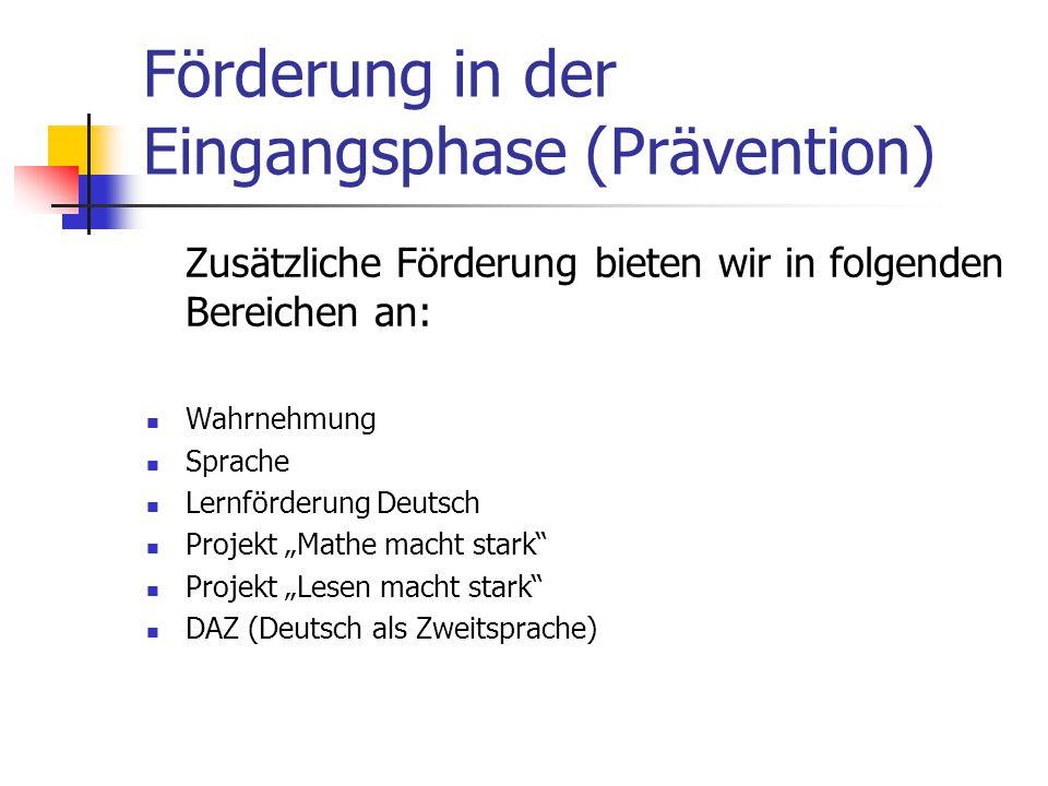 Förderung in der Eingangsphase (Prävention)