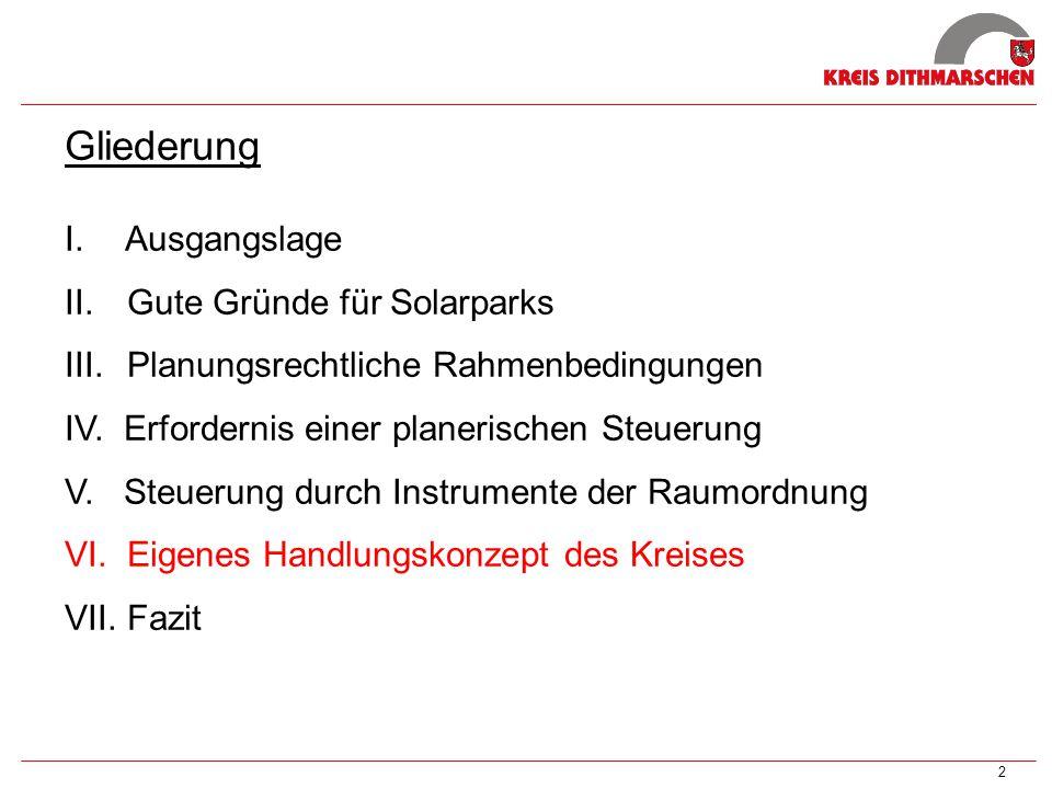 Gliederung Ausgangslage Gute Gründe für Solarparks