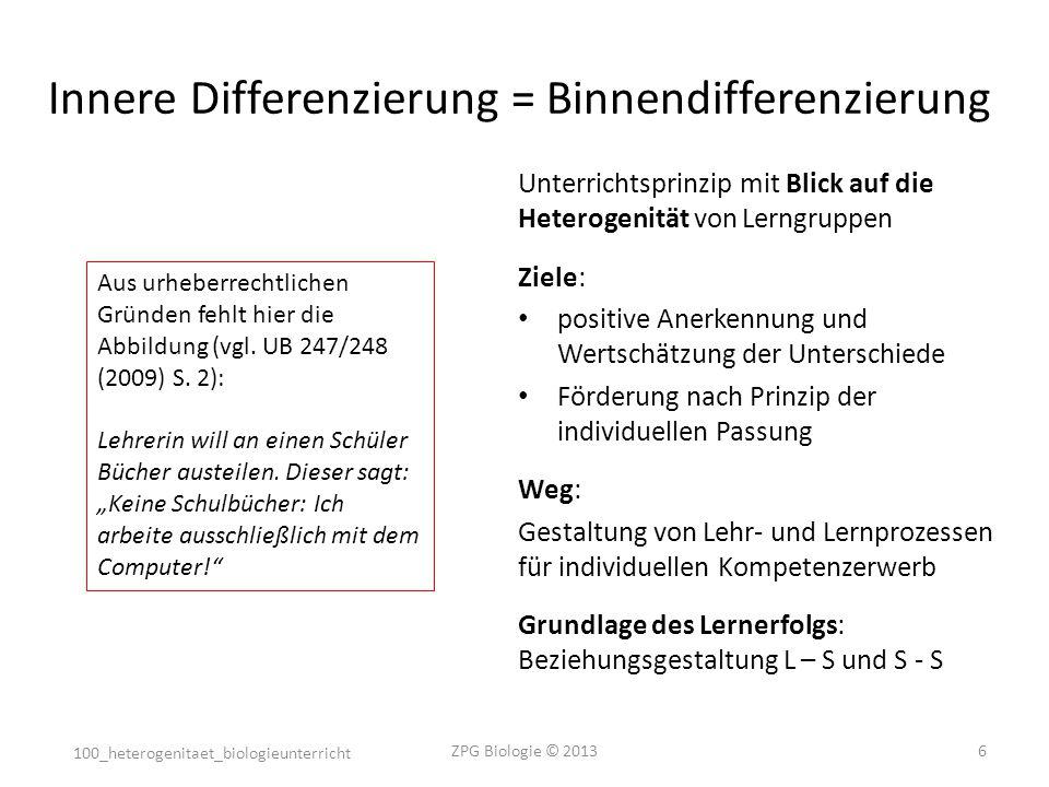 Innere Differenzierung = Binnendifferenzierung