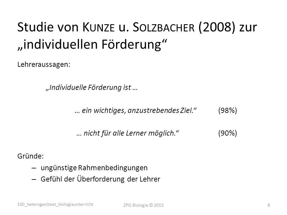 """Studie von Kunze u. Solzbacher (2008) zur """"individuellen Förderung"""