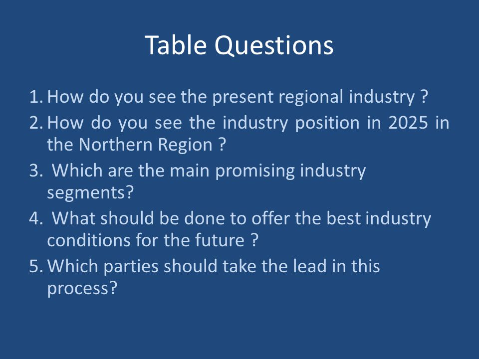 Table Questions How do you see the present regional industry