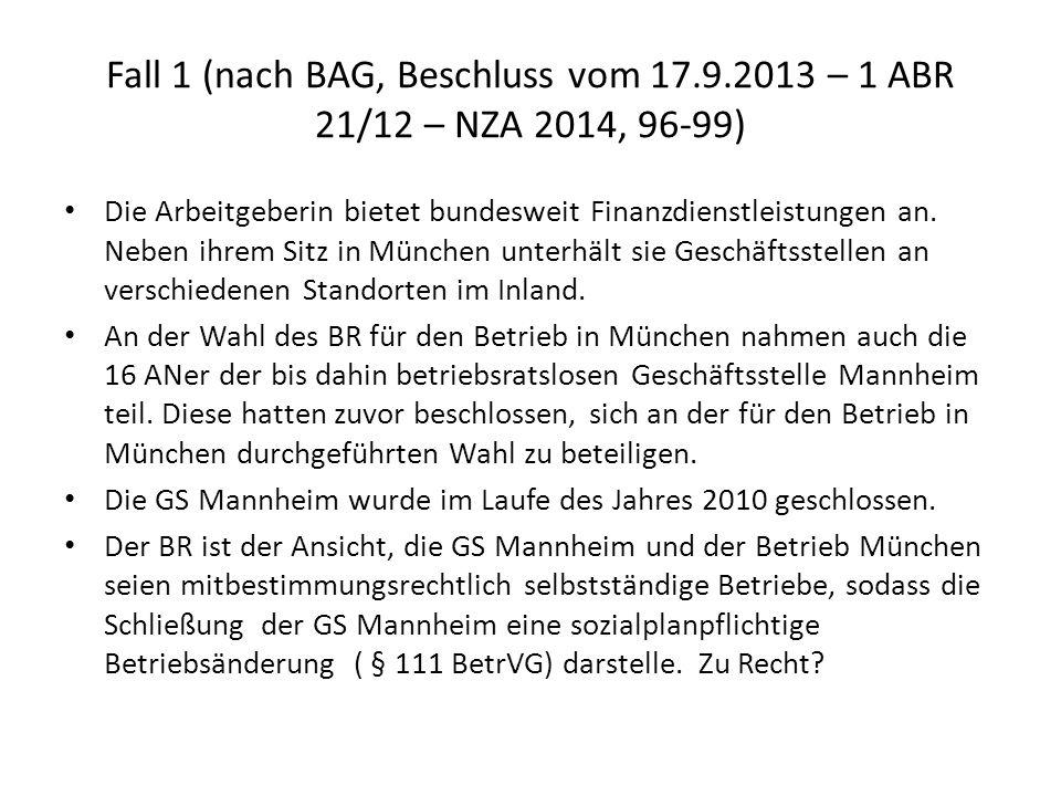 Fall 1 (nach BAG, Beschluss vom 17. 9