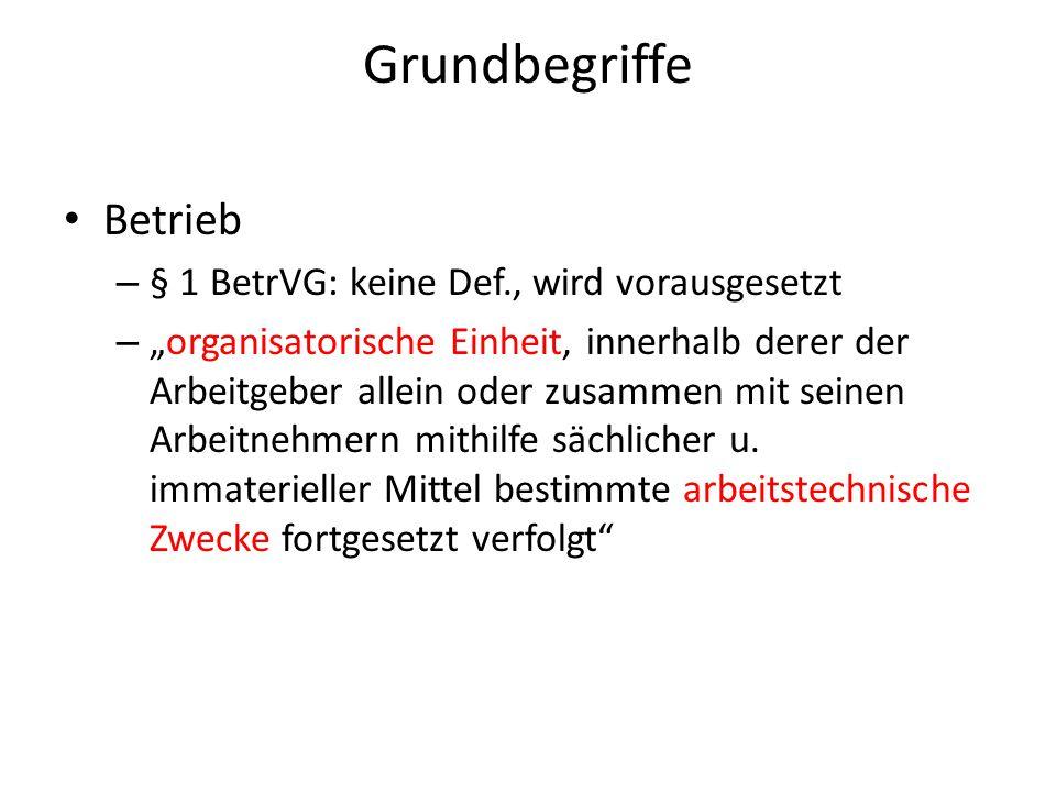 Grundbegriffe Betrieb § 1 BetrVG: keine Def., wird vorausgesetzt