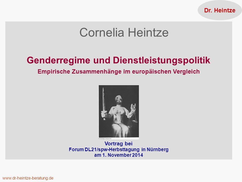 Dr. Heintze Cornelia Heintze Genderregime und Dienstleistungspolitik Empirische Zusammenhänge im europäischen Vergleich.