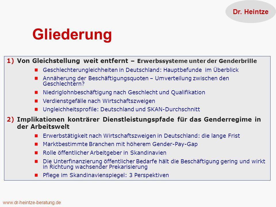 Dr. Heintze Gliederung. Von Gleichstellung weit entfernt – Erwerbssysteme unter der Genderbrille.
