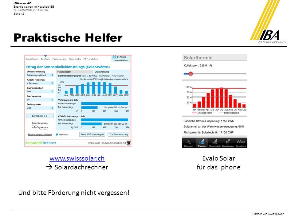 Praktische Helfer www.swisssolar.ch  Solardachrechner Evalo Solar