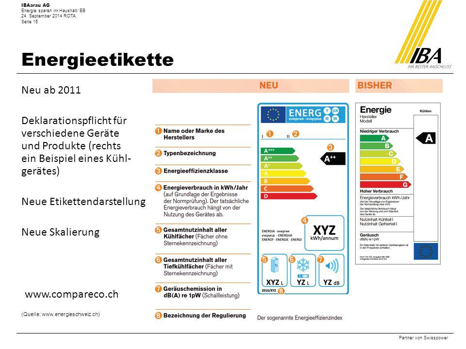 Energieetikette Neu ab 2011