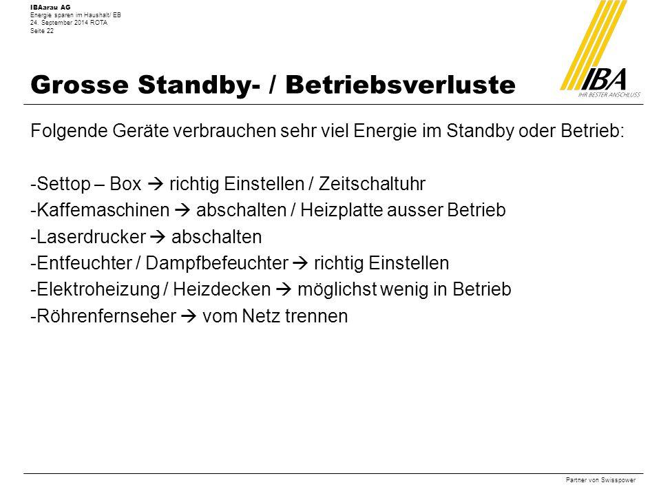 Grosse Standby- / Betriebsverluste