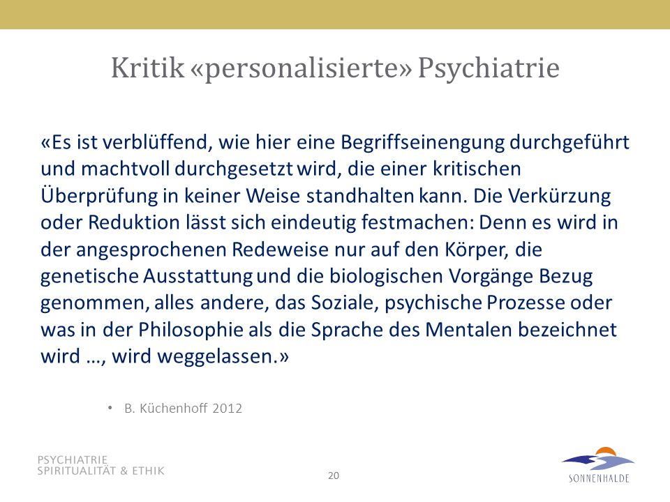 Kritik «personalisierte» Psychiatrie