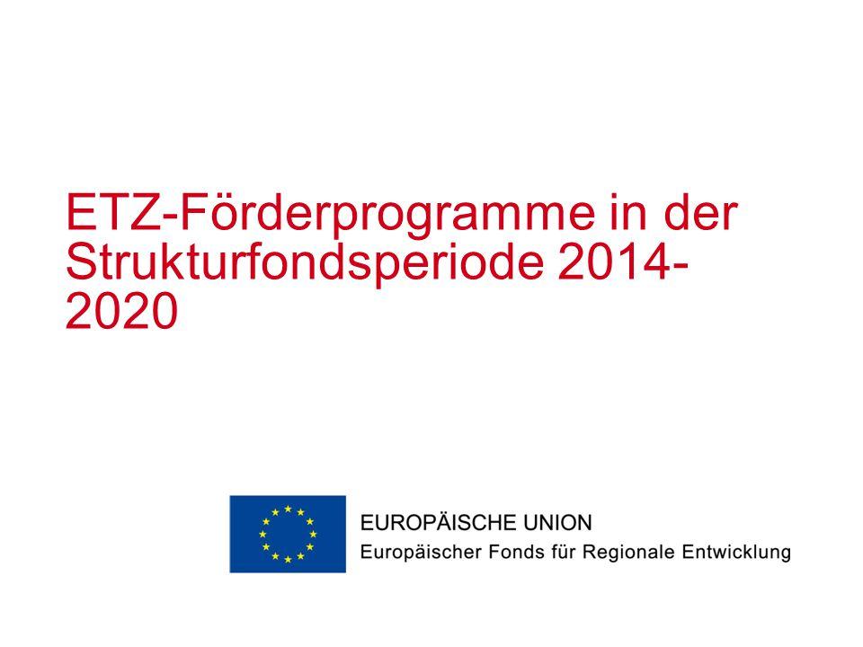 ETZ-Förderprogramme in der Strukturfondsperiode 2014-2020